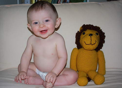 baby with lion
