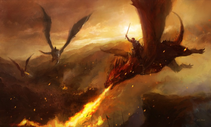 Aegon and Balerion in the Field of Fire